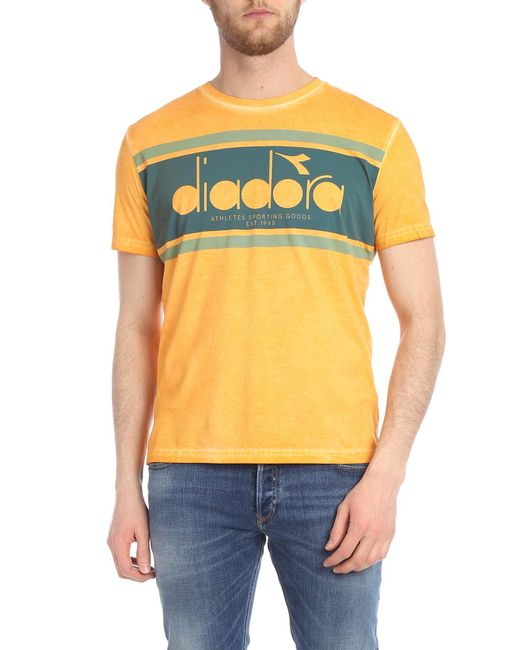 21dff107 Diadora Orange T-shirt With Logo in Orange for Men - Lyst