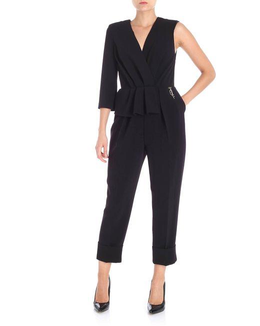Elisabetta Franchi - Black Draped One-piece Jumpsuit - Lyst