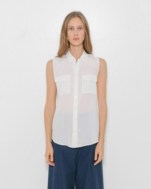 Equipment | White Sleeveless Slim Signature Shirt | Lyst