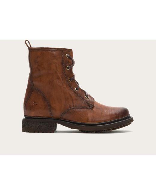 Frye - Brown Valerie Lace Up Shearling - Lyst