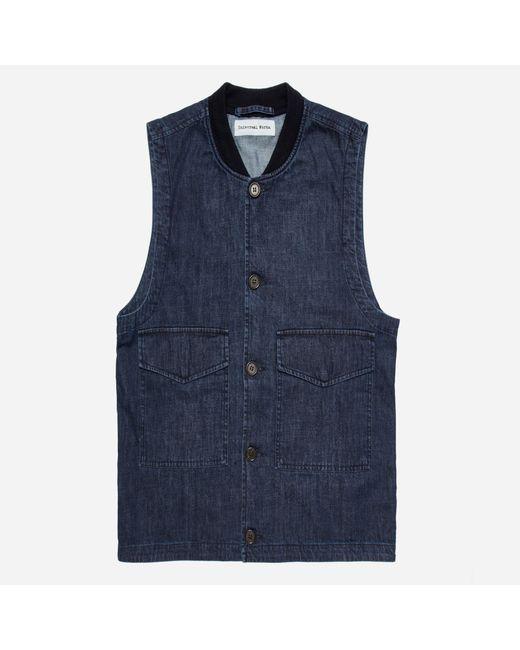 Universal Works | Blue Fall Denim Watchman Waistcoat for Men | Lyst