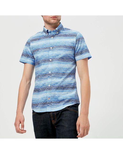 90bdff42 Tommy Hilfiger - Blue Watercolour Stripe Short Sleeve Shirt for Men - Lyst  ...