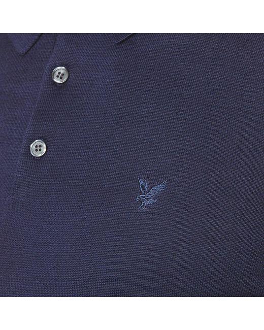 ecf307e7dc4 ... Lyle   Scott - Blue Long Sleeve Mercerised Cotton Knitted Polo Shirt  for Men - Lyst