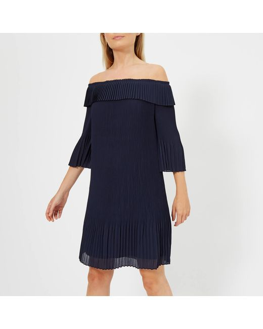 9915efd58ff0a Lyst - Ted Baker Franeis Pleated Bardot Dress in Blue - Save 52%