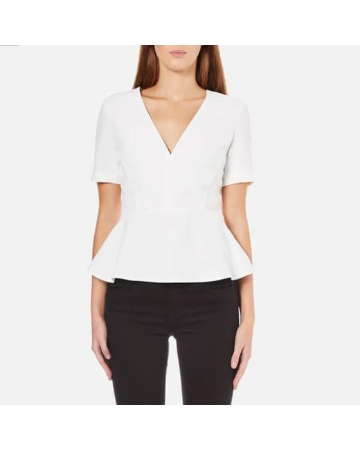 French Connection | White Arrow Crepe Short Sleeve Top | Lyst