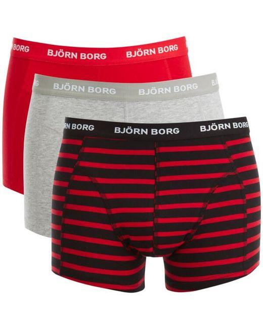 Björn Borg | Black 3 Pack Stripe Detail Boxers for Men | Lyst