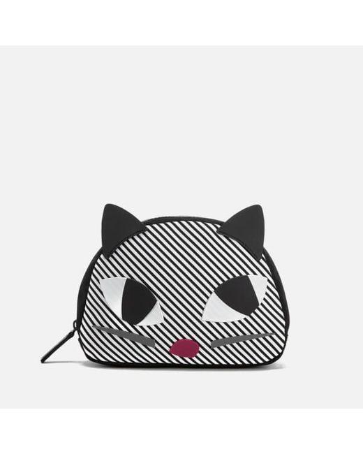 Lulu Guinness | Black Women's Stripe Kooky Cat Crescent Pouch | Lyst