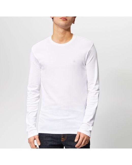 16e83696a98c Calvin Klein - White Long Sleeve Crew Neck T-shirt for Men - Lyst ...