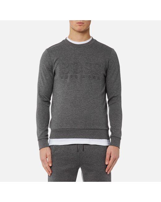 BOSS Green - Gray Men's Salbo Large Logo Sweatshirt for Men - Lyst