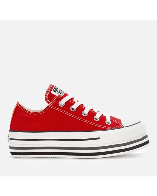 ba3b2f757e67d3 Converse - Red All Star Platform Layer Ox Trainers - Lyst ...