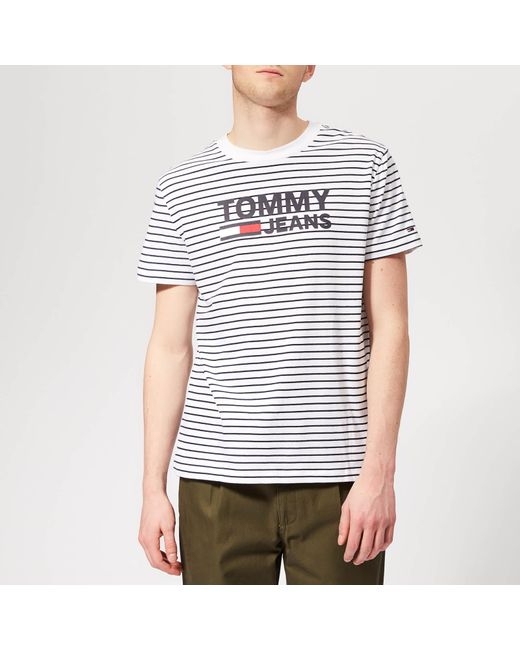 f2dd3b2a93 Tommy Hilfiger Signature Stripe T-shirt in White for Men - Save 3 ...