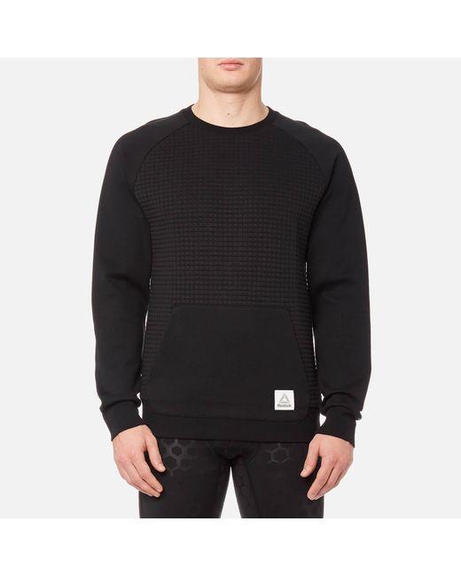 Reebok - Black Quilted Crew Neck Sweatshirt for Men - Lyst