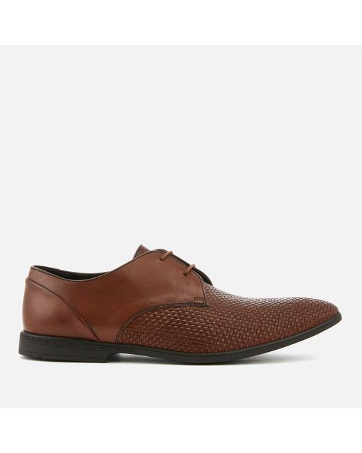 Clarks - Brown Bampton Weave Leather Derby Shoes for Men - Lyst