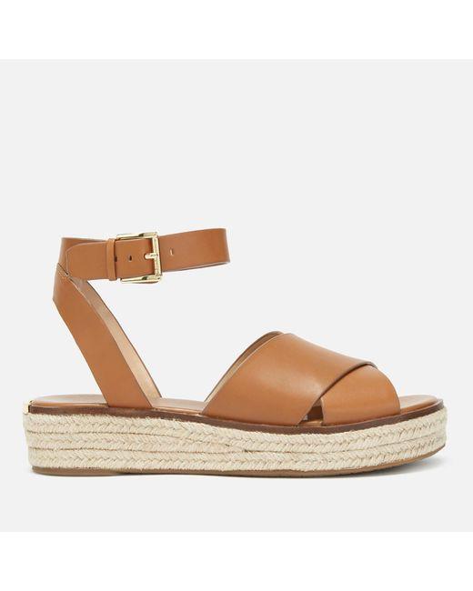 f48d16a4bacc MICHAEL Michael Kors - Brown Abbott Flatform Sandals - Lyst ...
