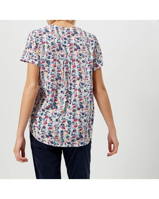 ac0f661f6a36af ... Joules - Blue Iona Short Sleeve Blouse - Lyst ...