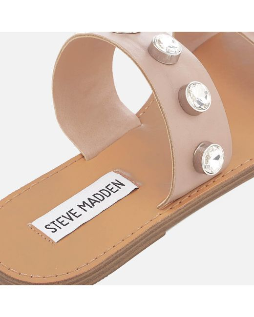 7a1df36f6d03 ... Steve Madden - Natural Jessy Leather Double Strap Sandals - Lyst