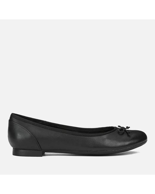 Clarks | Black Couture Bloom Leather Ballet Flats | Lyst