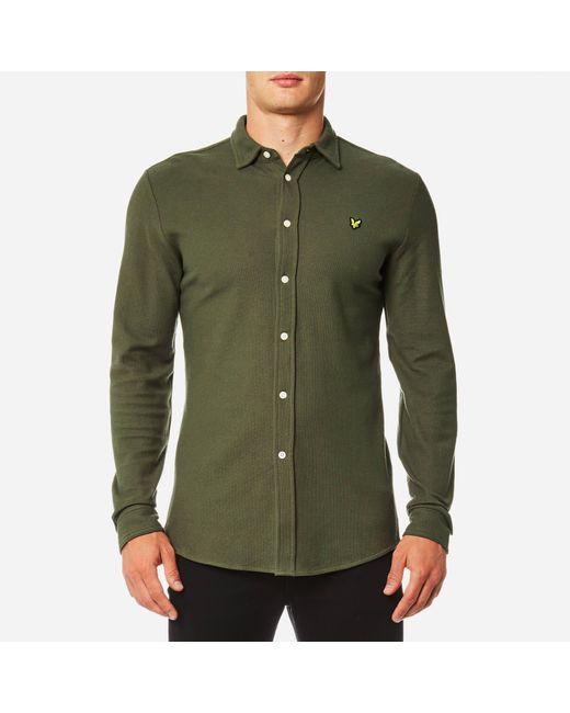 Lyle & Scott - Green Honeycomb Jersey Shirt for Men - Lyst