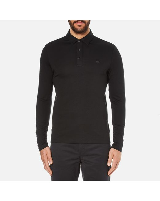 Michael Kors - Black Men's Long Sleeve Sleek Mk Polo Top for Men - Lyst