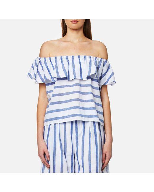 Paisie - Blue Stripe Off The Shoulder Top - Lyst