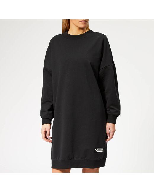 2ba0572bda PUMA - Black Tz Long Crew Neck Sweatshirt Dress - Lyst ...
