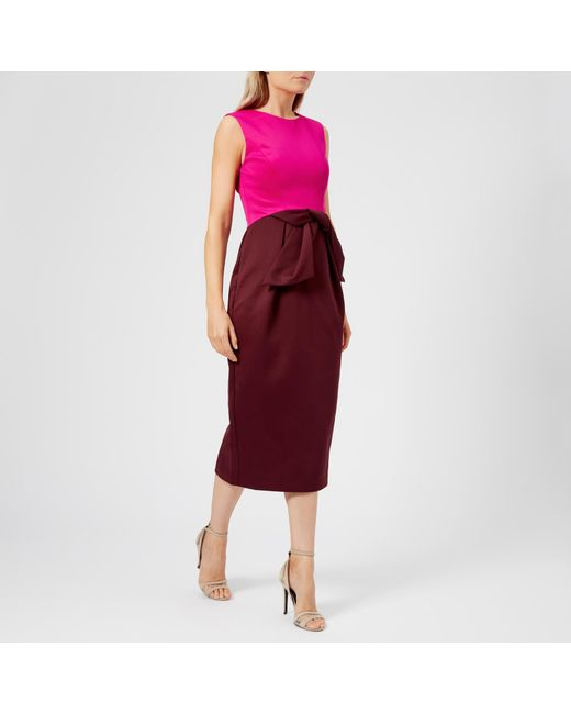 7455a0a30a619 Ted Baker Nikkita Contrast Tulip Bow Midi Dress in Purple - Save 37 ...