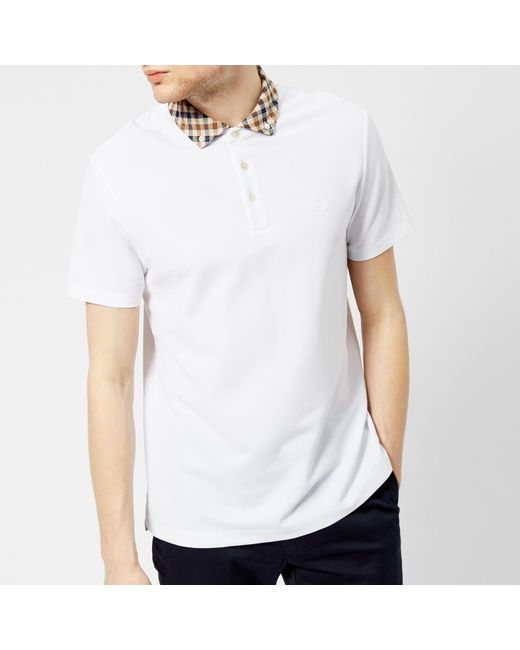 Aquascutum - White Men's Coniston Cc Collar Short Sleeve Polo Shirt for Men - Lyst