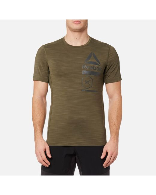 d09f12ab Reebok - Green Activchill Zoned Graphic Short Sleeve T-shirt for Men - Lyst  ...