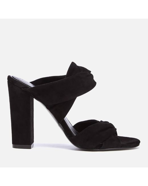 Kendall + Kylie - Black Demi Suede Double Strap Heeled Mules - Lyst