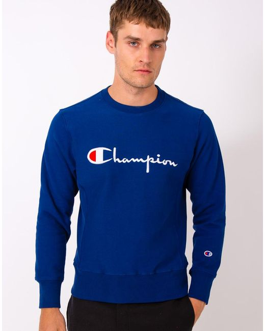 Champion | Reverse Weave Crew Neck Sweatshirt Blue for Men | Lyst