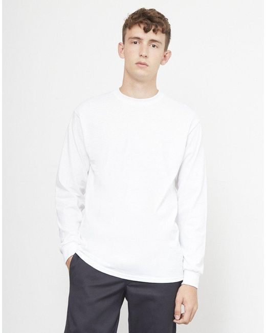 4a6567a87de2 The Idle Man Classic Long Sleeve Tshirt White in White for Men - Lyst