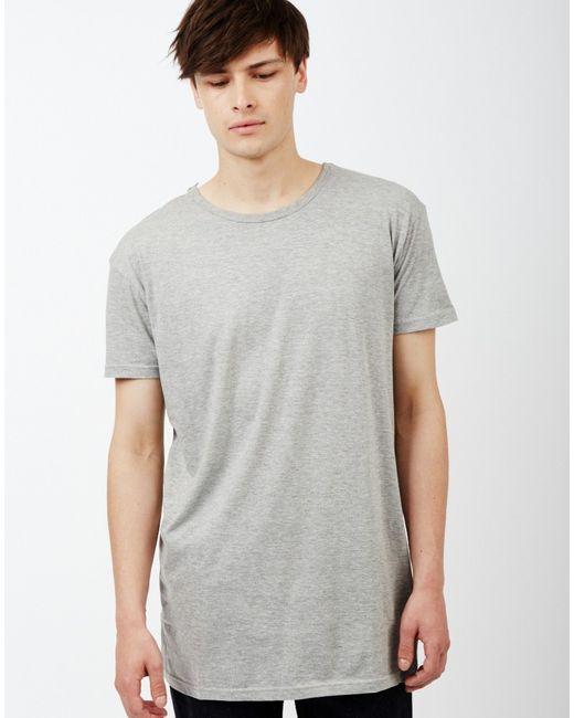 The idle man long line short sleeve t shirt grey in gray for Long line short sleeve t shirt
