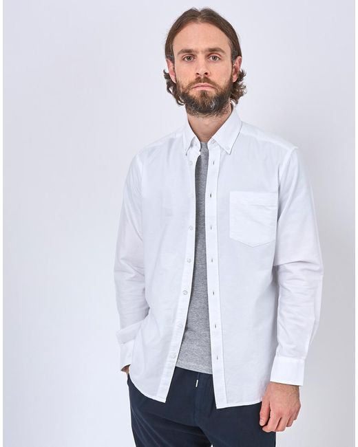 b755a69ec8 ... The Idle Man - Relaxed Modern Fit Oxford Shirt White for Men - Lyst ...
