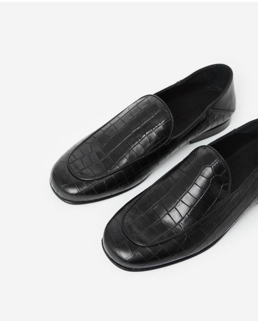 f362415284 ... The Kooples - Black, Crocodile-effect Leather Slippers - Lyst ...