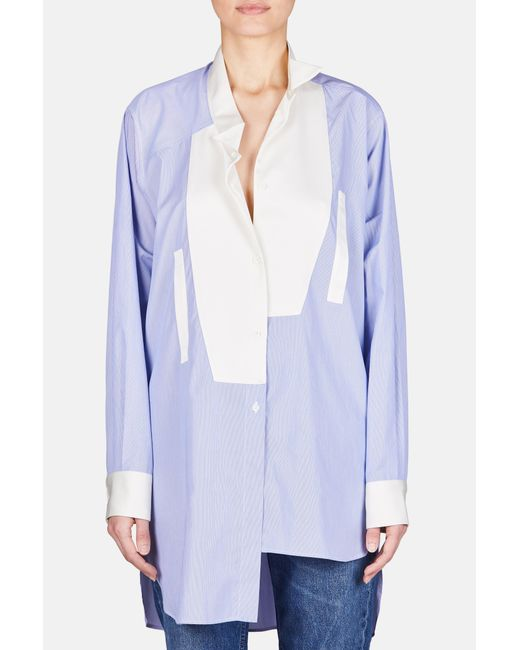 Loewe - Blue Asymmetric Oversized Button Up Shirt - Lyst