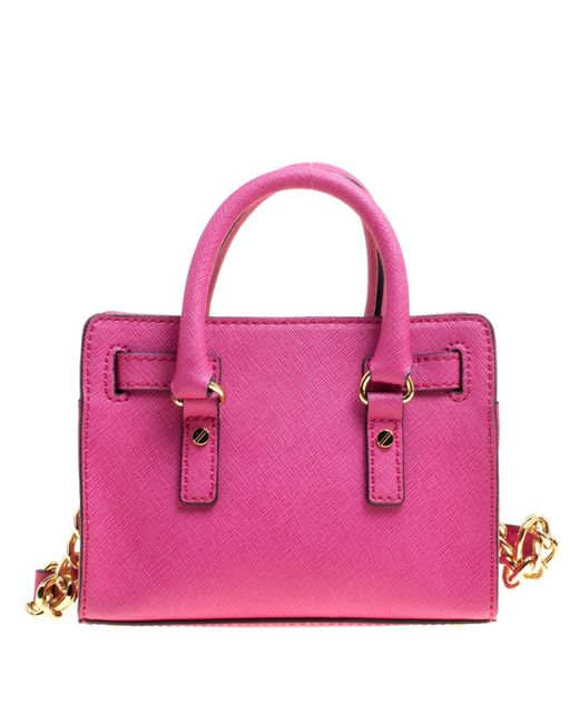 ... MICHAEL Michael Kors - Pink Hot Saffiano Leather Mini Hamilton  Crossbody Bag - Lyst ... e4d34597dd