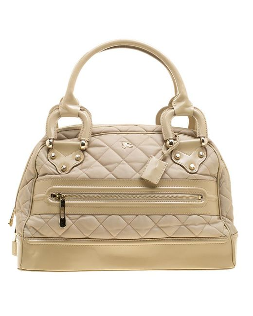 Burberry - Natural Quilted Nylon And Leather Manor Satchel - Lyst