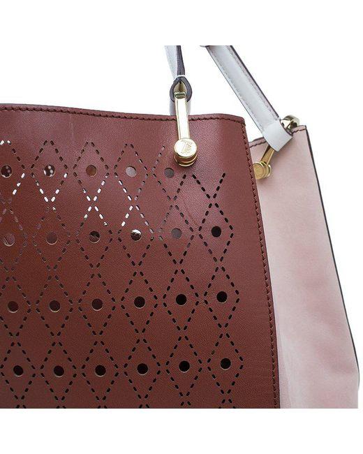 15cc83c6c3 ... Tod s - Brown Two Tone Perforated Leather Signature Secchiello Traforo  Tote + Clutch ...