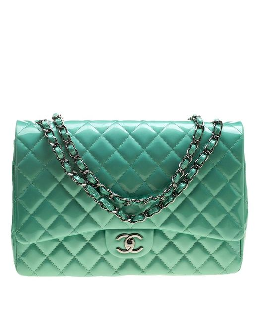 84dd2672eea1 Chanel - Green Quilted Patent Leather Maxi Classic Double Flap Bag - Lyst  ...