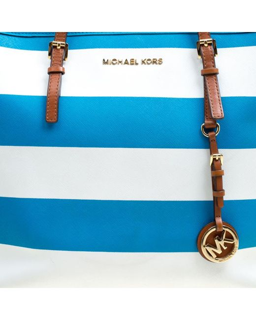 17863fd57a55 ... Michael Kors - Summer Blue/white Striped Leather Jet Set Travel Tote -  Lyst ...