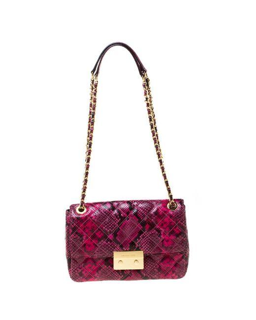 MICHAEL Michael Kors Michael Kors Pink Python Embossed Leather Sloan Shoulder Flap Bag