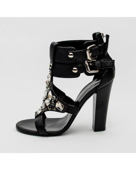 2e3338b2e5 ... Giuseppe Zanotti - For Pierre Balmain Black Leather Embellished Buckle Sandals  Size 36 - Lyst ...