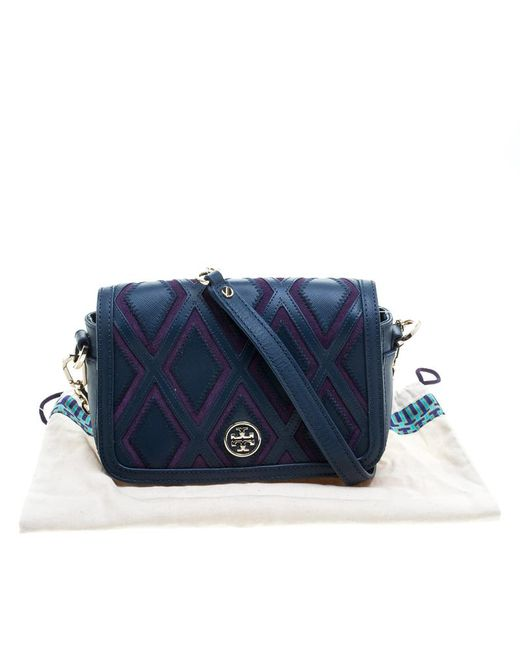 8729d49a54f ... Tory Burch - Blue  purple Leather And Suede Patchwork Robinson Chain  Shoulder Bag - Lyst ...