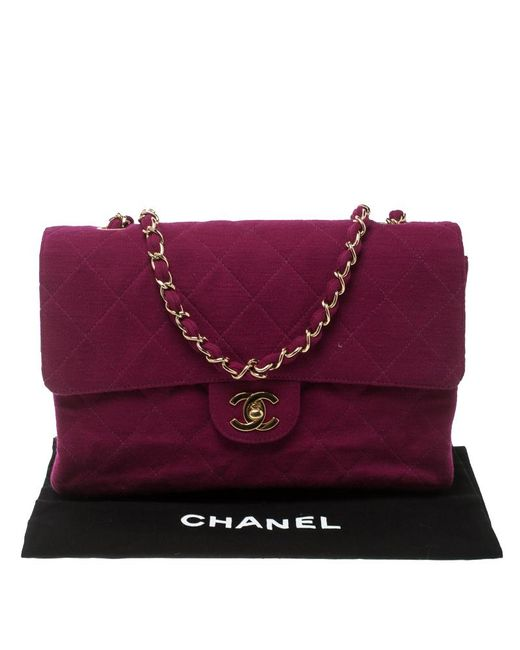 05e30a4b5ef1e4 ... Chanel - Pink Magenta Quilted Jersey Medium Classic Single Flap Bag -  Lyst ...