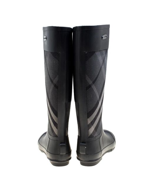 ee3d91dd50f ... Burberry - Black Rubber And Beat Check Fabric Rain Boots Size 36 - Lyst  ...