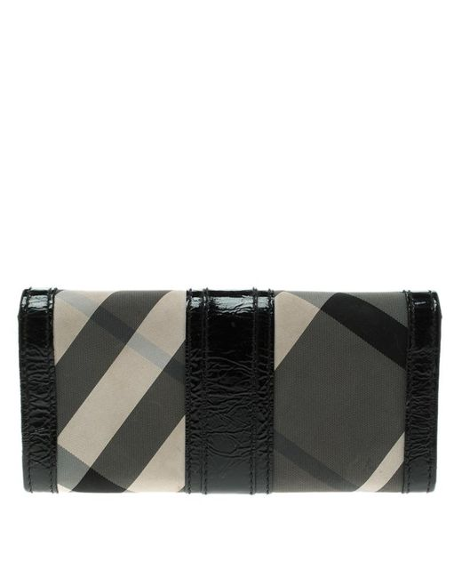 4e0b111f84f0 ... Burberry - Black Beat Check Nylon And Patent Leather Penrose  Continental Wallet - Lyst ...