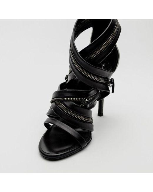 da72c2cecf ... Giuseppe Zanotti - For Pierre Balmain Black Leather Zip-embellished  Sandals Size 36 - Lyst ...