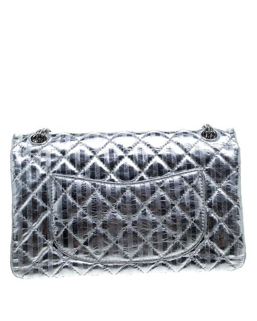 446b3f53a65733 ... Chanel - Metallic Silver Quilted Leather Striped Reissue 2.55 Classic  226 Flap Bag - Lyst ...