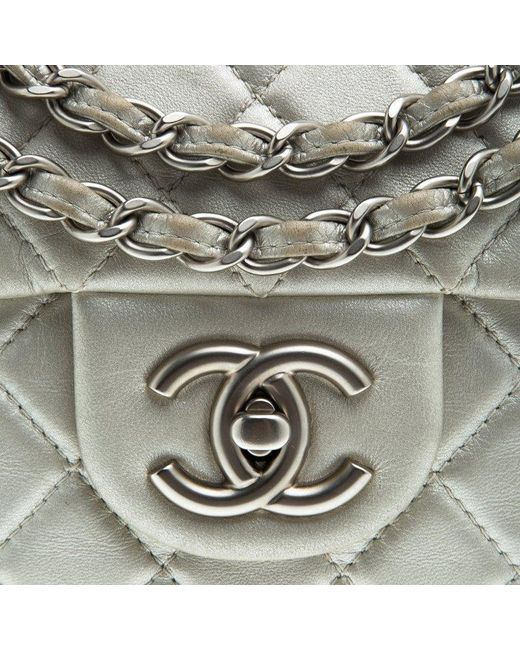 dbda1e21de74 ... Chanel - Gray Grey Quilted Iridescent Leather Maxi Classic Single Flap  Bag - Lyst ...