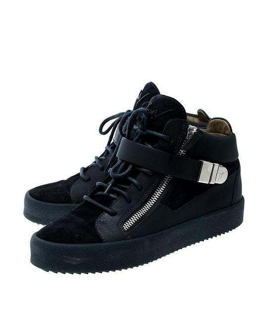 532ab4ecabd3e ... Giuseppe Zanotti - Blue Leather And Suede Mid Top Sneakers for Men -  Lyst ...
